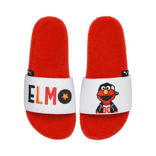Sesame Street 50 Leadcat Slides JR, Cherry Tomato-Puma White, large
