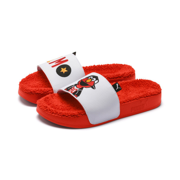 Sesame Street Kids' Leadcat Sandals, Cherry Tomato-Puma White, large