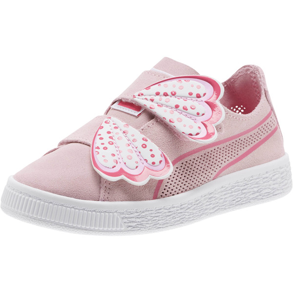 Suede Deconstruct Butterfly Sneakers PS, Pale Pink-Fuchsia Purple, large