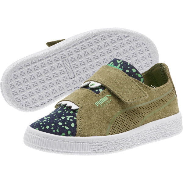 Suede Deconstruct Monster Little Kids' Shoes, Olivine-Peacoat-Irish Green, large