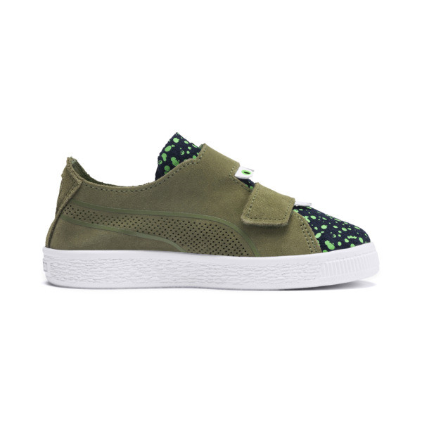 Suede Deconstructed Monster Kids' Trainers, Olivine-Peacoat-Irish Green, large