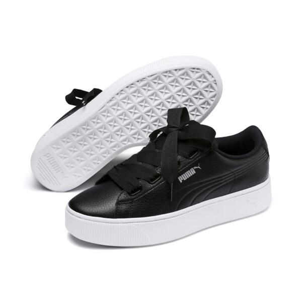 PUMA Vikky Stacked Ribbon Core Women's Sneakers, Puma Black-Puma Black, large