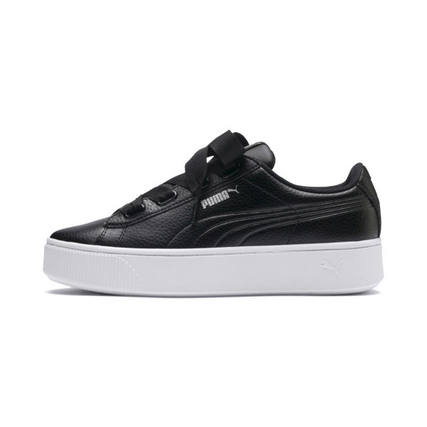 Vikky Stacked Ribbon Core Women's Trainers, Puma Black-Puma Black, large