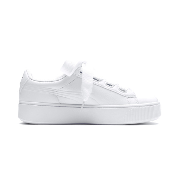 Vikky Stacked Ribbon Core Women's Trainers, Puma White-Puma White, large