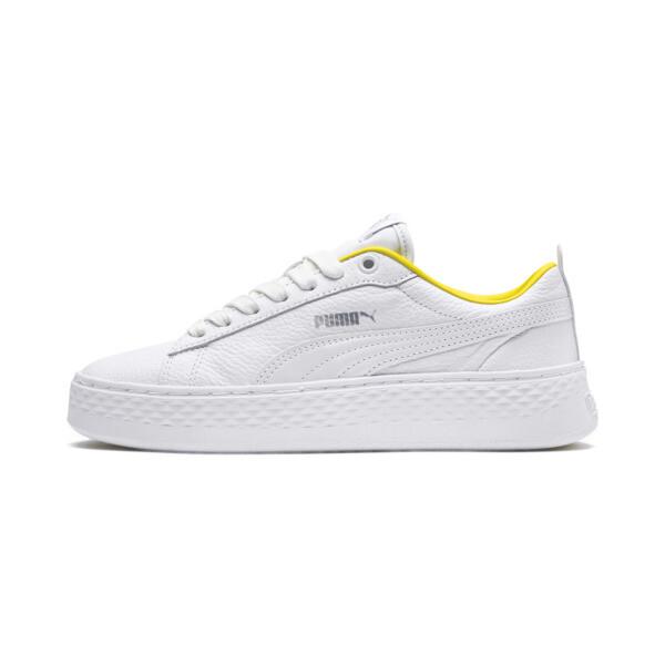 PUMA Smash Platform Trailblazer Damen Sneaker Schuhe - Mit Aucun - Weiß/Silber - Größe: 38.5