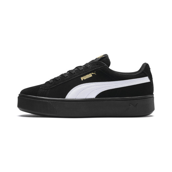 PUMA Vikky Stacked Suede Women's Sneakers, Puma Black-Puma White, large