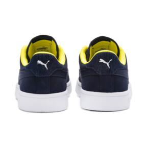 Thumbnail 4 of PUMA Smash v2 Denim Sneakers JR, Peacoat-Puma W-Blazing Yello, medium