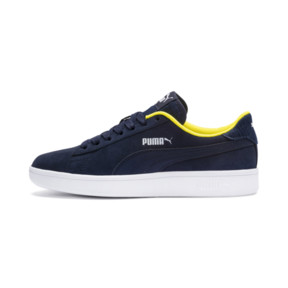 Thumbnail 1 of PUMA Smash v2 Denim Sneakers JR, Peacoat-Puma W-Blazing Yello, medium