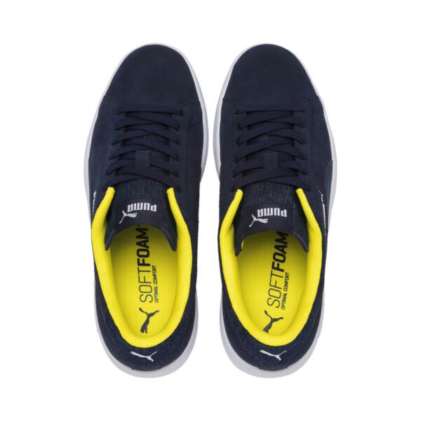 PUMA Smash v2 Denim Sneakers JR, Peacoat-Puma W-Blazing Yello, large