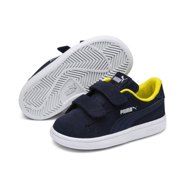 PUMA Smash v2 Denim AC Sneakers PS, Peacoat-White-Blazing Yellow, large