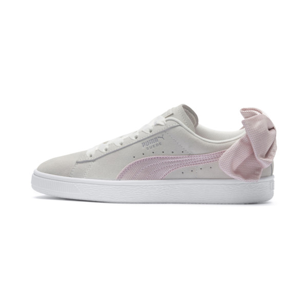 Suede Bow Hexamesh Women's Trainers, Marshmallow-Pale Pink, large