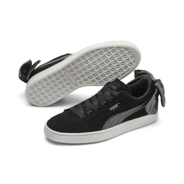 Suede Bow Hexamesh Women's Sneakers, Puma Black-Dark Shadow, large