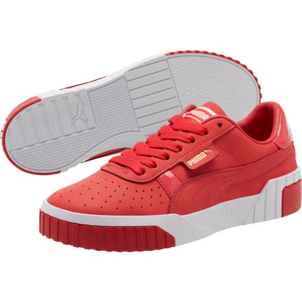 Cali Nubuck Women's Sneakers, Hibiscus -Puma White, large