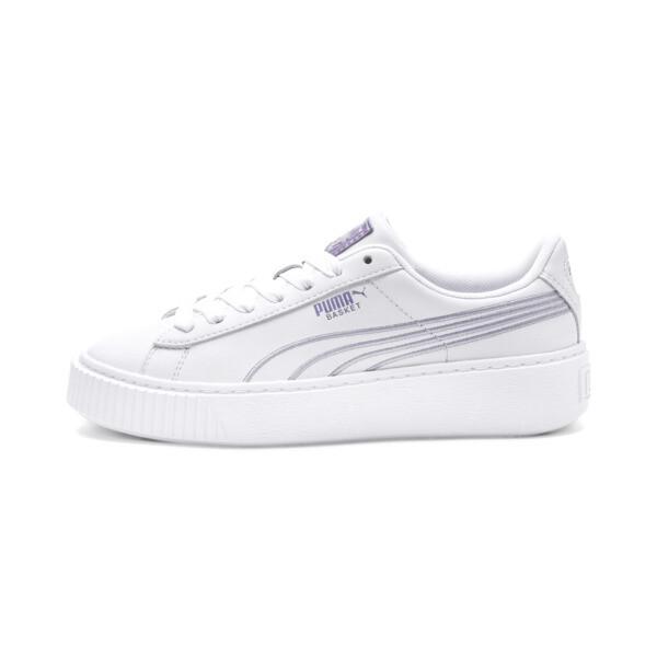 Basket Platform Twilight Women's Sneakers, Puma White-Sweet Lavender, large