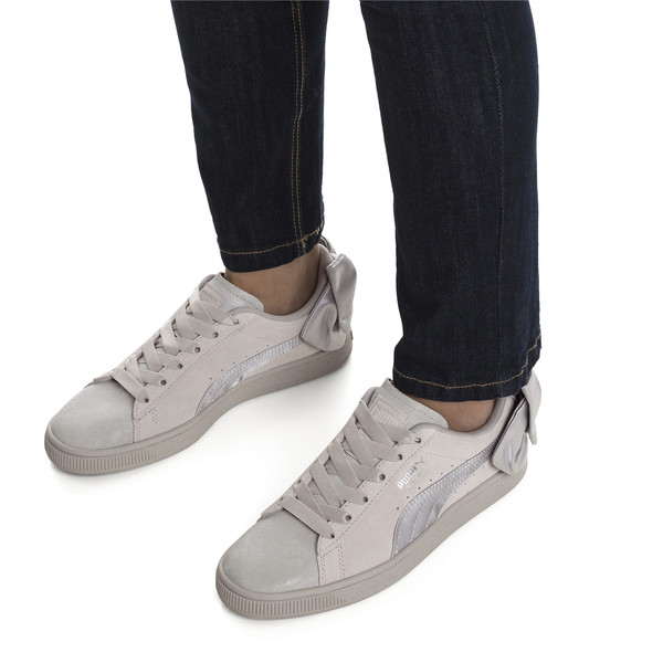 Suede Bow Galaxy Women's Sneakers, Gray Violet-Puma Silver, large