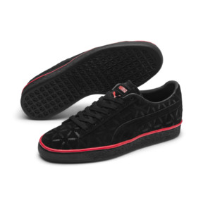 Thumbnail 2 of Suede Classic Lux Trainers, Puma Black-High Risk Red, medium
