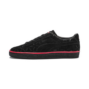 Thumbnail 1 of Suede Classic Lux Trainers, Puma Black-High Risk Red, medium