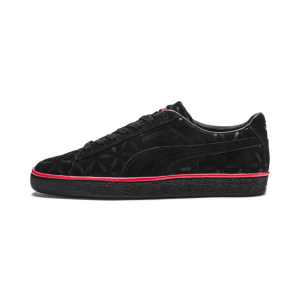Suede Classic Lux Trainers, Puma Black-High Risk Red, large