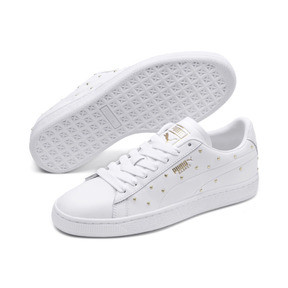 Thumbnail 3 of Basket Studs Women's Trainers, Puma White-Puma Team Gold, medium