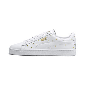 Thumbnail 1 of Basket Studs Women's Trainers, Puma White-Puma Team Gold, medium