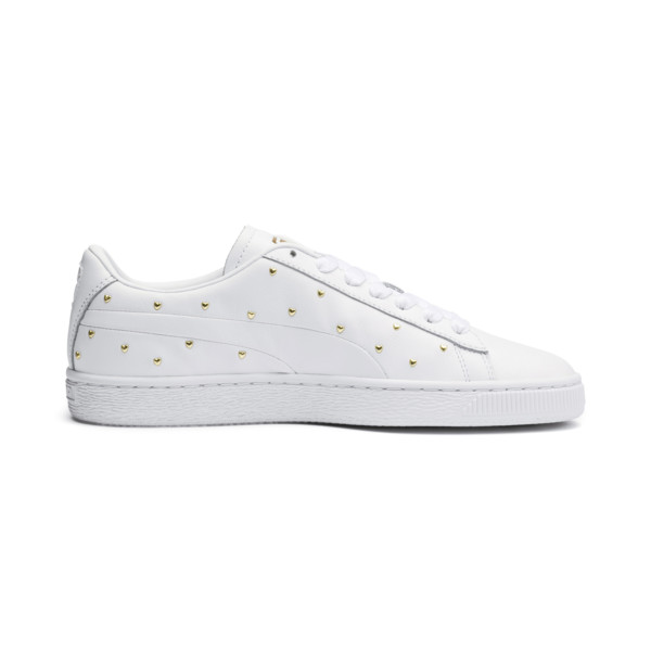 Basket Studs Women's Trainers, Puma White-Puma Team Gold, large