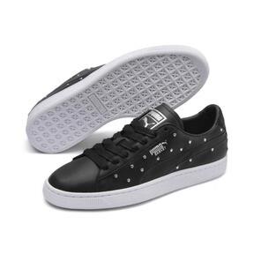 Thumbnail 3 of Basket Studs Women's Sneakers, Puma Black-Puma Silver, medium