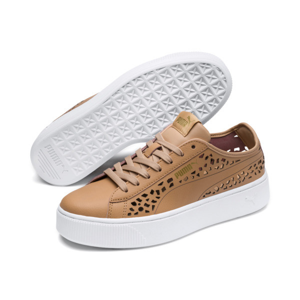 PUMA Vikky Stacked Laser Cut Women's Sneakers, Toast-Toast, large