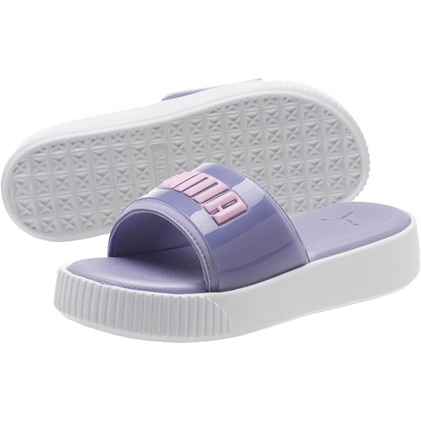 Platform Fashion Women's Slides, Sweet Lavender-Puma White, large