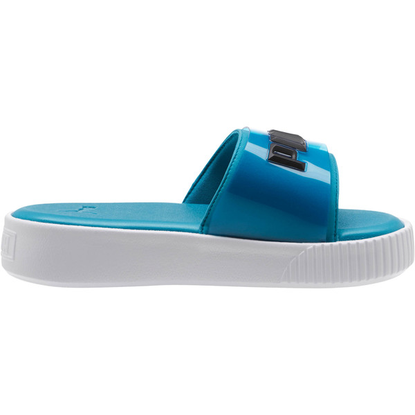 Platform Fashion Women's Slides, Caribbean Sea-Puma White, large