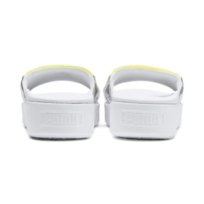 Thumbnail 3 of Platform Trailblazer Metallic Women's Slide Sandals, Puma White-Puma Silver, medium