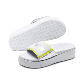 Thumbnail 2 of Platform Trailblazer Metallic Women's Slide Sandals, Puma White-Puma Silver, medium