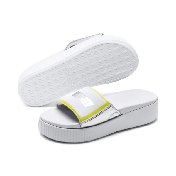 Platform Trailblazer Metallic Women's Slide Sandals, Puma White-Puma Silver, large