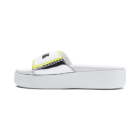 Thumbnail 1 of Platform Trailblazer Metallic Women's Slide Sandals, Puma White-Puma Silver, medium