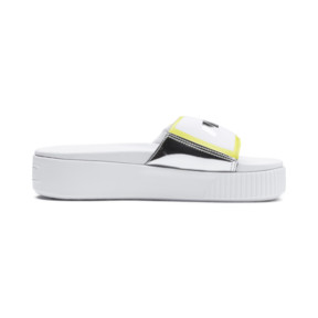 Thumbnail 5 of Platform Trailblazer Metallic Women's Slide Sandals, Puma White-Puma Silver, medium
