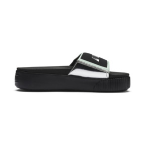 Thumbnail 5 of Platform Trailblazer Metallic Women's Slides, Puma Black-Puma Silver, medium