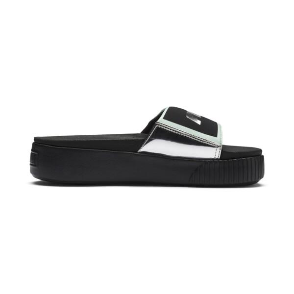 Platform Trailblazer Metallic Women's Slides, Puma Black-Puma Silver, large