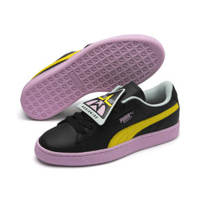 Thumbnail 7 of Basket Badge Trailblazer Women's Trainers, Puma Black-Blazing Yellow, medium