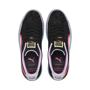 Thumbnail 7 of PUMA x SOPHIA WEBSTER Suede Women's Sneakers, Puma Black-Fiery Coral, medium