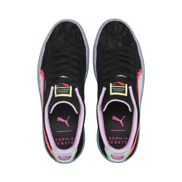 PUMA x SOPHIA WEBSTER Suede Women's Sneakers, Puma Black-Fiery Coral, large