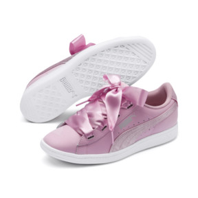 Thumbnail 2 of PUMA Vikky Ribbon Satin Sneakers JR, Pale Pink-Pale Pink, medium