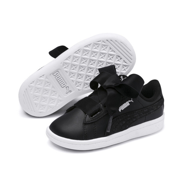 Vikky Ribbon Kids Girls' Trainers, Puma Black-Puma Silver-White, large
