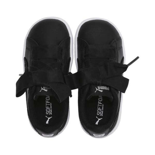ZapatosPUMA Vikky Ribbon Satin AC para niños, Puma Black-Puma Silver-White, grande