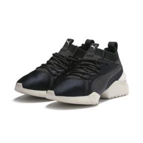 Thumbnail 3 of Muse Maia Knit Premium Women's Trainers, Puma Black-Whisper White, medium