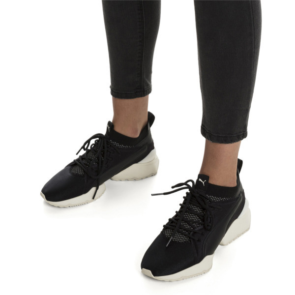 Muse Maia Knit Premium Women's Trainers, Puma Black-Whisper White, large