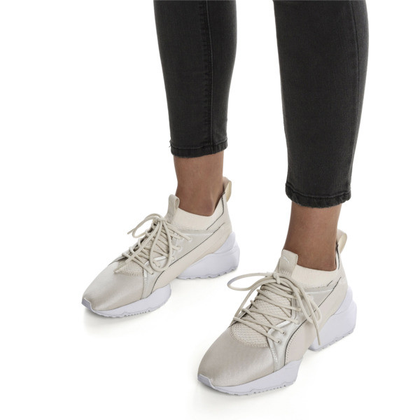 Muse Maia Knit Premium Women's Trainers, Whisper White-Puma White, large
