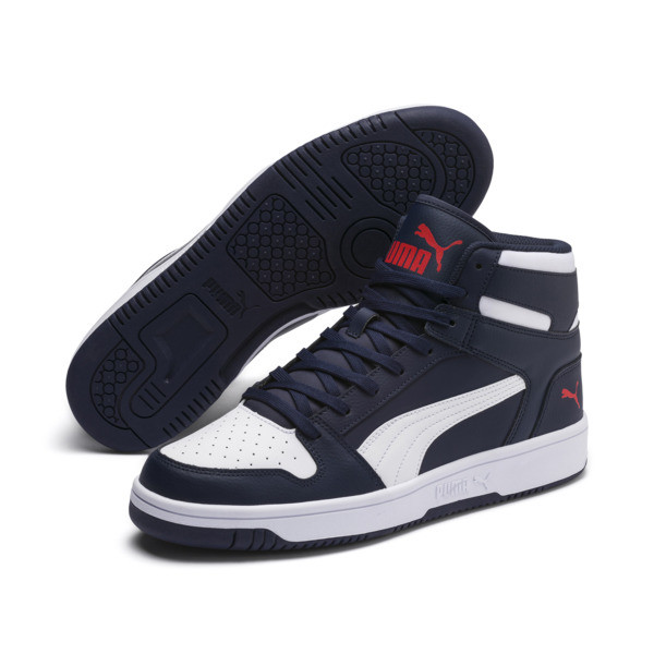 PUMA Rebound LayUp Sneakers, Peacoat-Puma White-Red, large