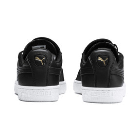 Thumbnail 3 of Basket Crush Emboss Heart Women's Sneakers, Puma Black-Puma Team Gold, medium