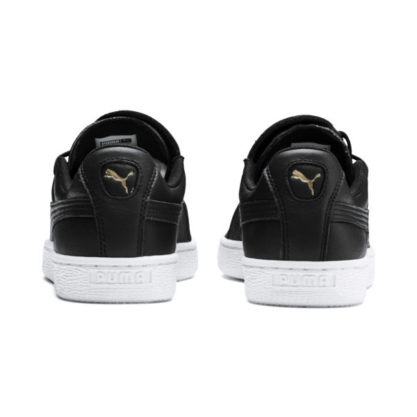 Basket Crush Emboss Heart Women's Sneakers, Puma Black-Puma Team Gold, large