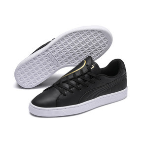 Thumbnail 7 of Basket Crush Emboss Heart Women's Sneakers, Puma Black-Puma Team Gold, medium