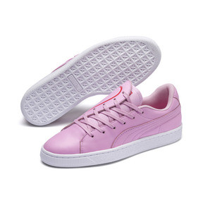 Thumbnail 8 of Basket Crush Emboss Heart Women's Sneakers, Pale Pink-Hibiscus, medium
